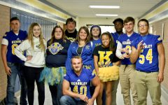 Upperclassmen wear blue and gold proudly