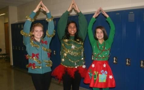 Festive freshmen become Christmas trees