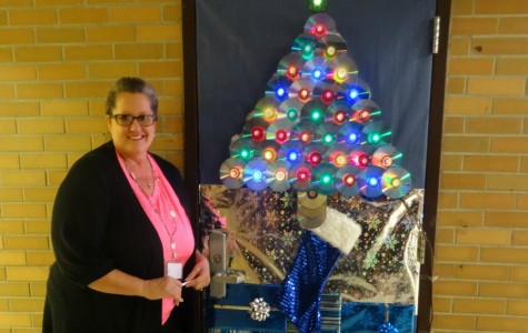 Mrs. Medemar's door features a tree made out of CDs
