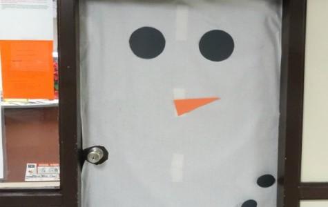 The office builds a snowman despite lack of snow