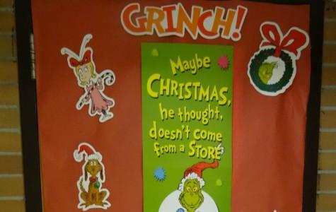 The Grinch is abundant on Mr. Winkler's door