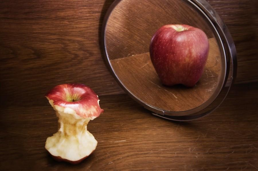 Anorexia Nervosa is a psychological and possibly life-threatening eating disorder. It is represented in this photo by how a people may see themselves as being bigger than what they are when they look into a mirror.