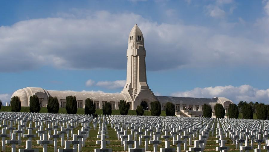 The Douaumont Ossuary overlooking the graves of French soldiers who were killed during the Battle of Verdun, 1916.
