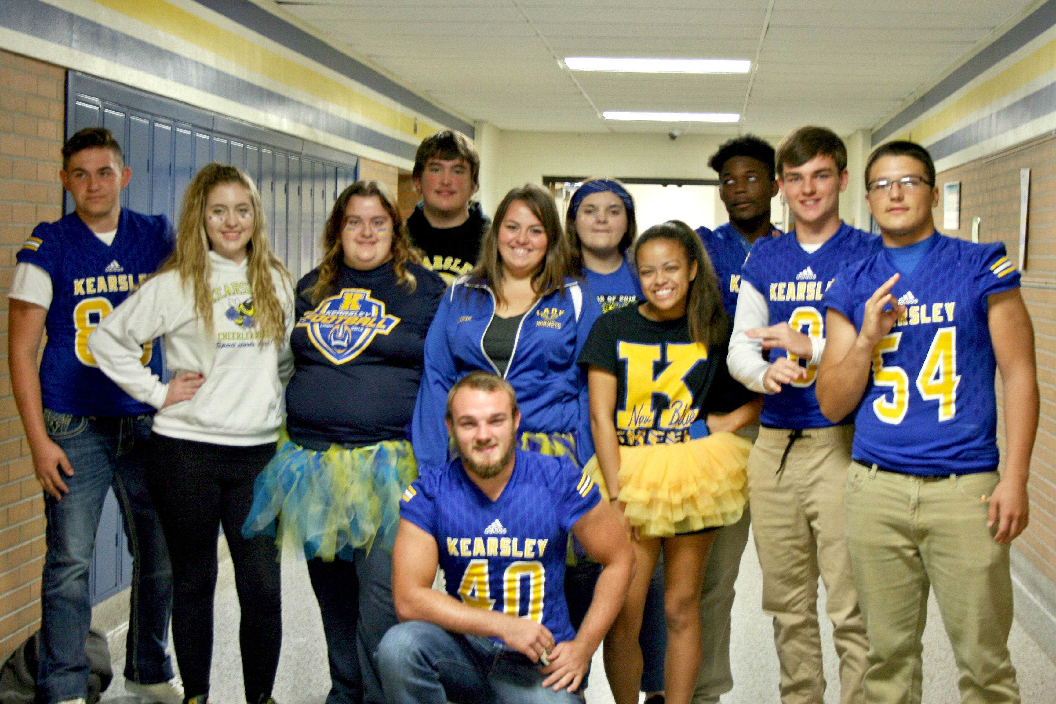 A group of juniors and seniors support their school during Blue and Gold Day.
