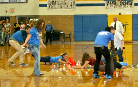 Students compete in hungry hippos