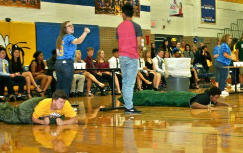Freshman races sophomore in sleeping bags