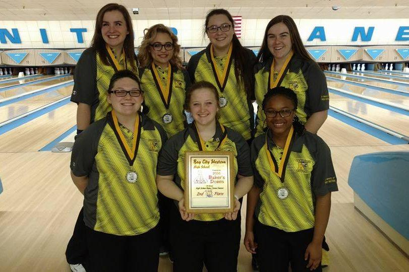 The girls bowling team took second place in Bay City on Saturday, Dec. 17, at a Baker tournament.
