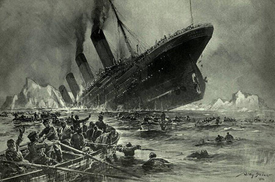 Mr.+Willy+Stower+depicted+the+Titanic+sinking+in+a+1912+engraving.