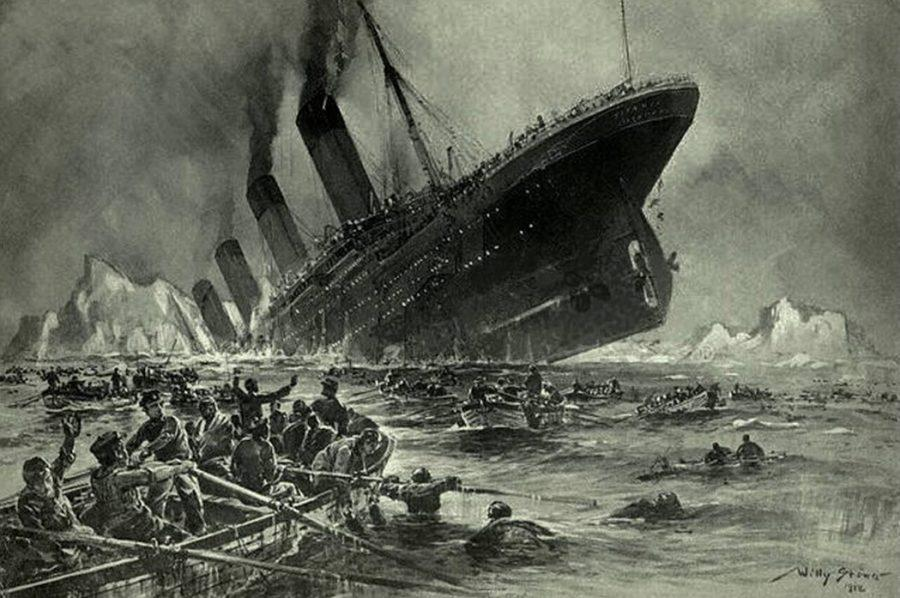 Mr. Willy Stower depicted the Titanic sinking in a 1912 engraving.