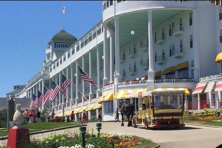 The Grand Hotel at Mackinac Island opened in 1887 and is a prominent attraction on the island.