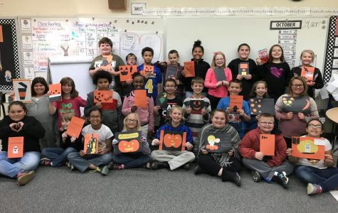 Hunt's classes create Halloween cards for fourth-graders