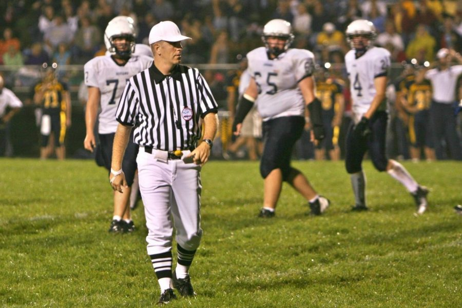 Mr. Darrick Puffer officiates a game between Goodrich and Durand on Sept. 12, 2008.