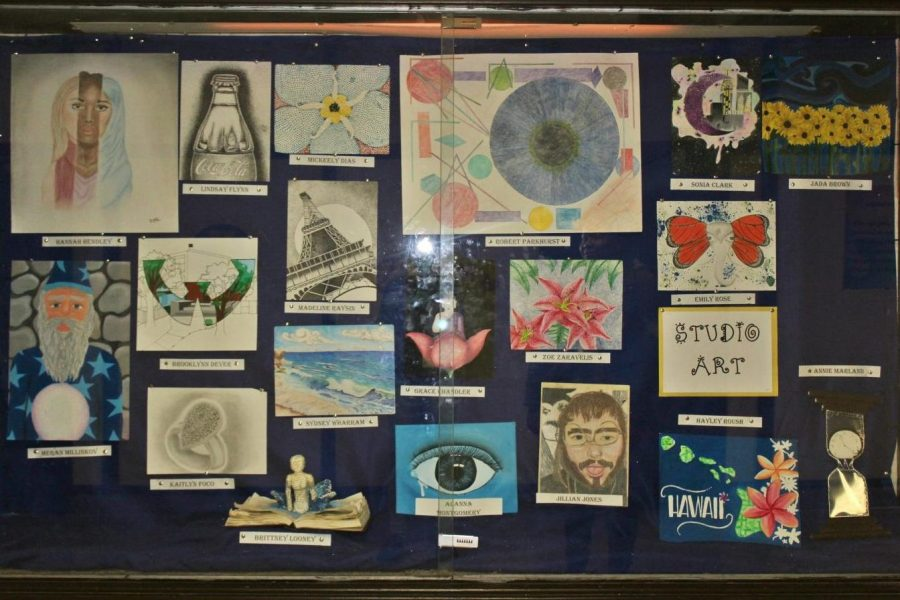 Artwork by students is shown off in the showcase. The showcase across from the main office toward the 400 hallway.