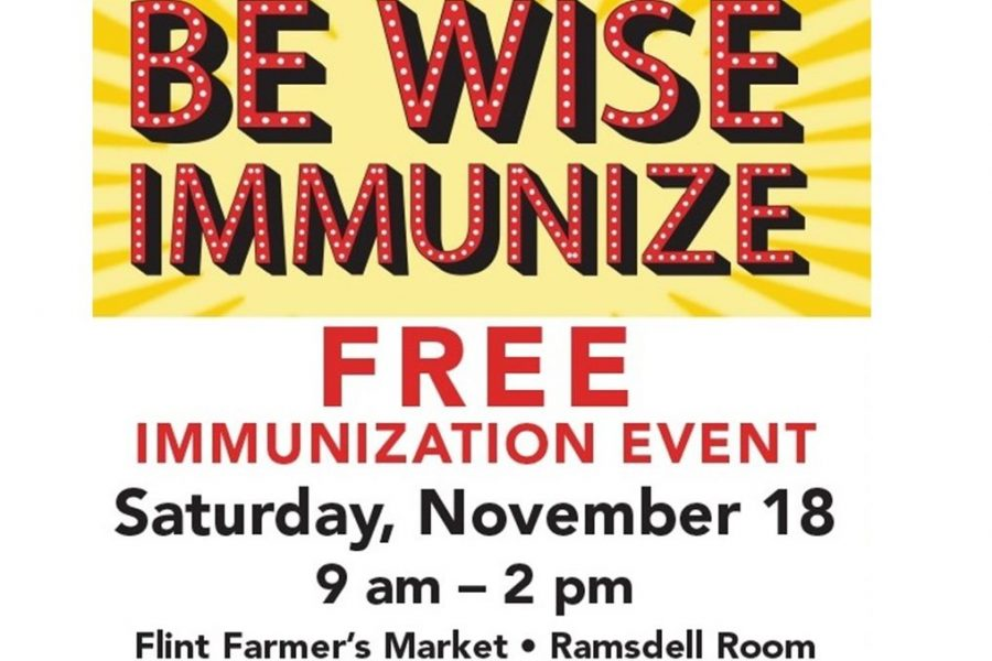 Flint Farmers' Market is offering free immunizations Saturday. Nov. 18.