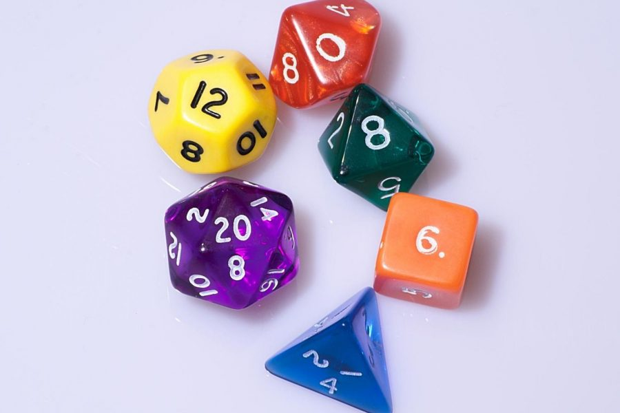 Dice are rolled to determine outcomes in the game Dungeons & Dragons.