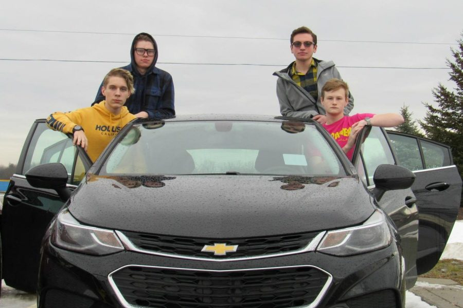 Sophomore+Cole+Zemore+%28l+to+r%29%2C+juniors+Josh+Gunther%2C+Tyler+Gronauer%2C+and+Lance+Hawkins+enjoy+riding+together+in+Hawkins%27+Chevy+Cruze.
