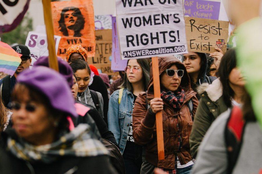 Women march in Los Angeles during International Women's Day on March 5, 2017.