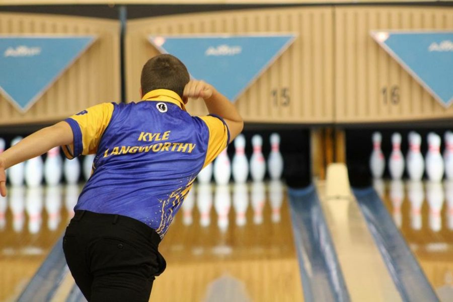 Junior Kyle Langworthy bowls in a match earlier in the season. Langworthy led the Hornets at the MHSAA Division 2 state final Friday, March 2.