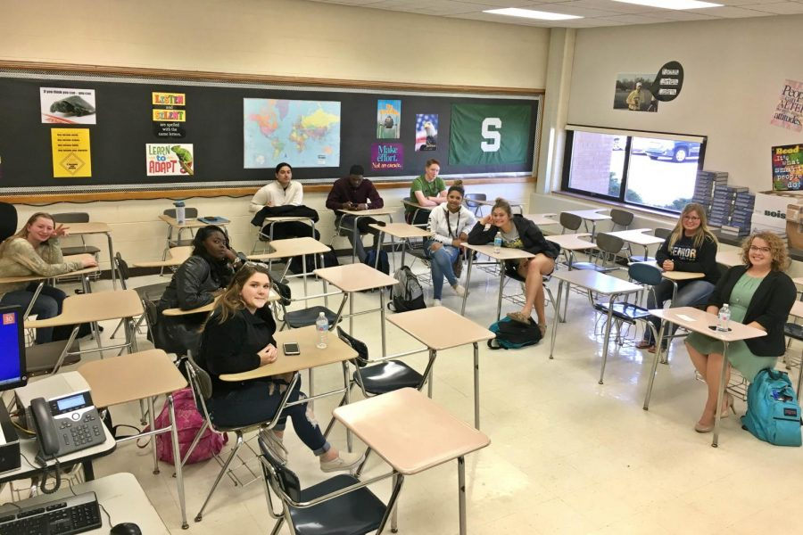 Only+13+of+28+seniors+showed+up+for+Mr.+Darrick+Puffer%27s+fifth-hour+Senior+English+class+Monday%2C+April+30%2C+also+known+as+senior+skip+day.