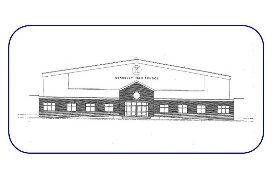 This is the architect's rendition of the front of Kearsley High School after construction is completed.