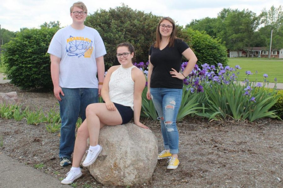 The Eclipse editors for the 2018-2019 school year (l to r) will be sophomore Connor Earegood as managing editor, junior Jenna Robinson as editor in chief, and junior Autumn Prescott as special projects editor.