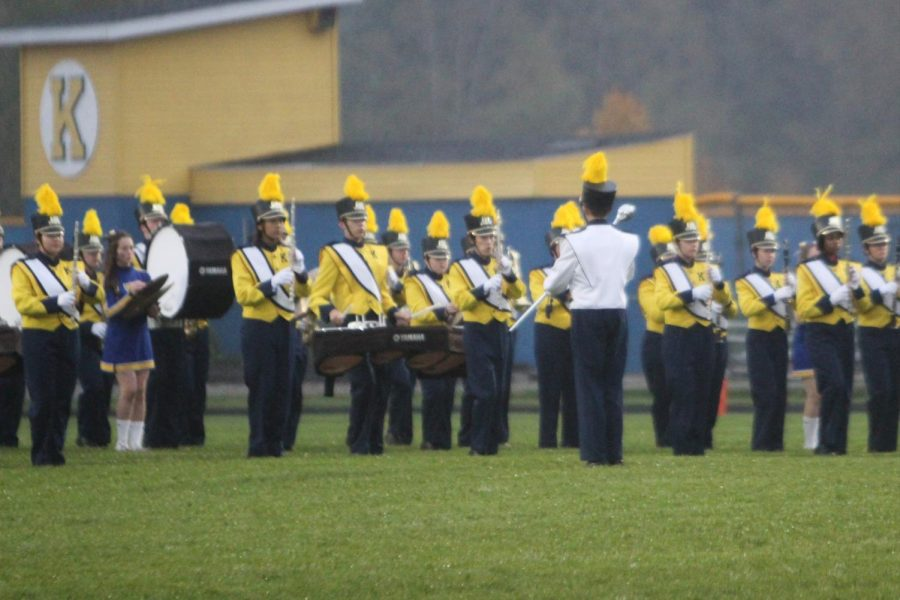 Marching band impresses the crowd with Pop Queens show at halftime on Friday, Oct, 5.