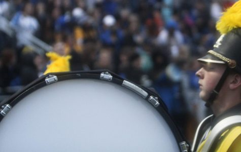 Palmer plays percussion at homecoming game