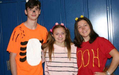 Tigger, Piglet, and Winnie-the-Pooh roam the halls on Halloween