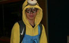 Lamb wears minion onesie on Halloween