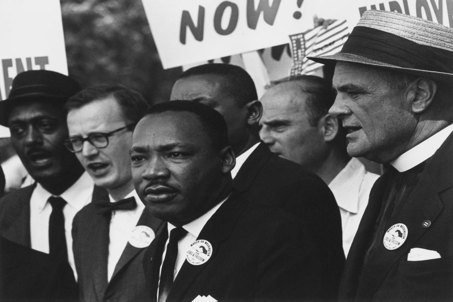 The+Rev.+Dr.+Martin+Luther+King+Jr.+%28front%2C+center%29+takes+part+in+the+1963+Civil+Rights+March+in+Washington%2C+D.C.