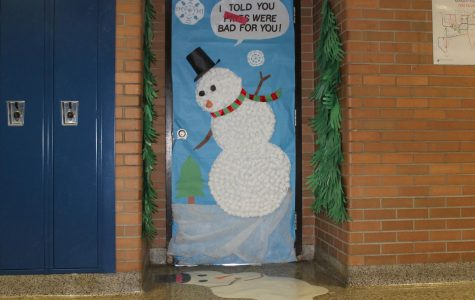 Doorways adorned for holiday cheer