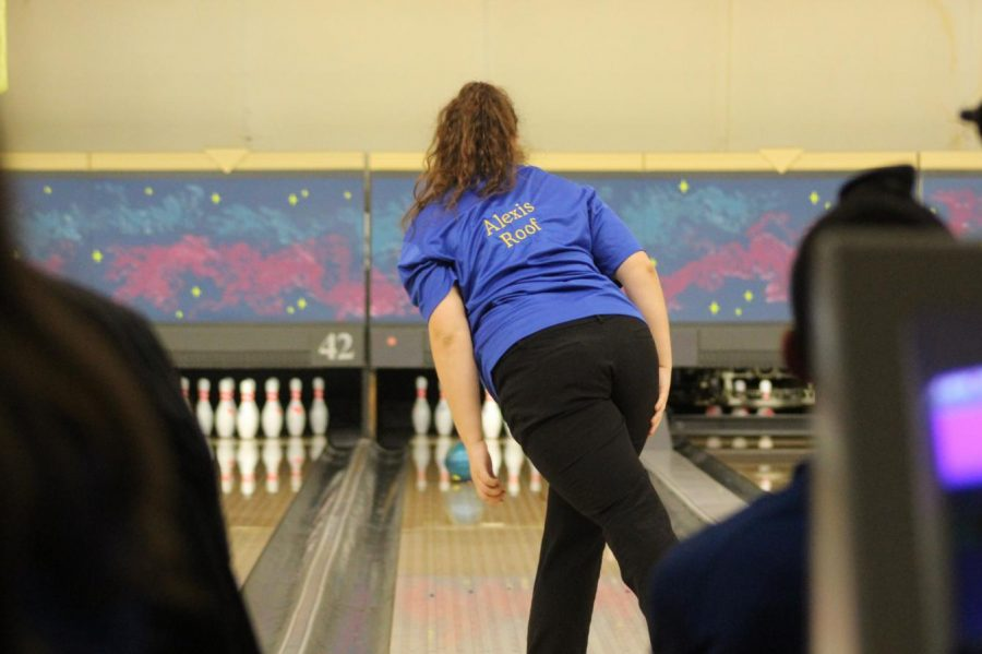 Senior Alexis Roof bowled individual games of 268 and 216 against the Raiders on Wednesday, Dec. 12.