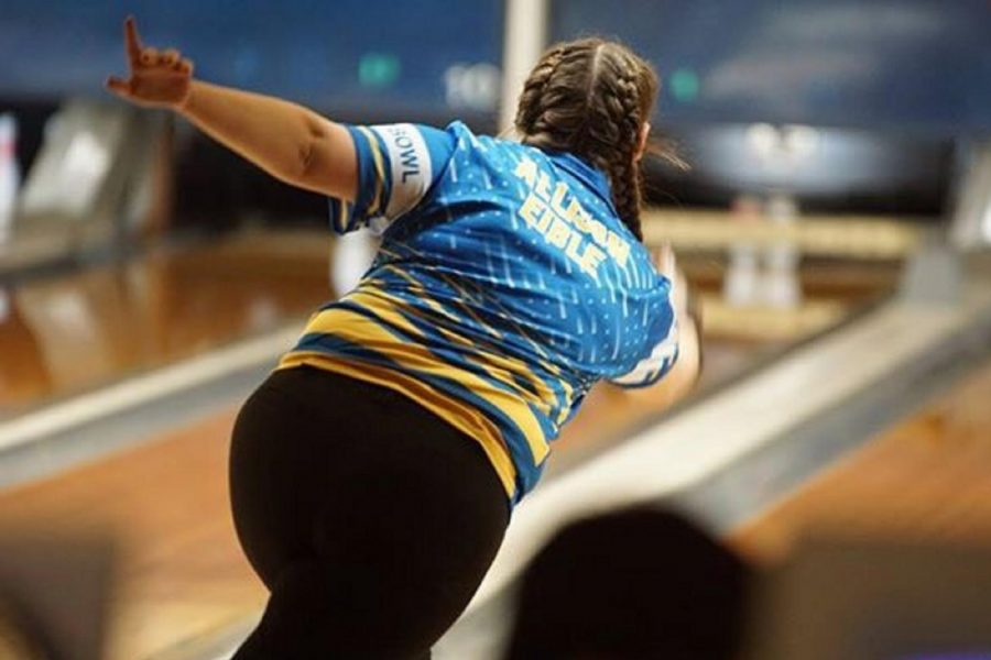 Sophomore Allison Eible threw strong games of 240 and 195 for the girls bowling team against Owosso on Saturday, Jan. 12.