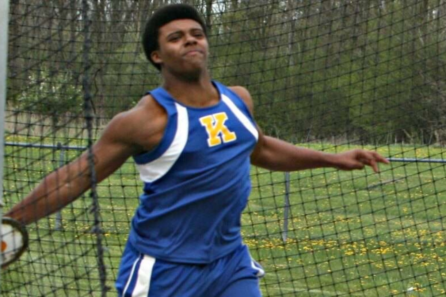 Senior Eddie Harris throws the discus for the track and field team. He also competes in the shot put and some sprinting events.
