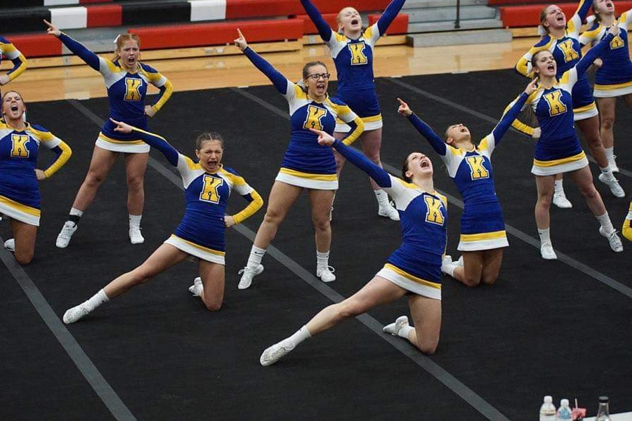 The Hornets pose in their ending formation for their routine. The cheer team took second at the MHSAA Division 2 district tournament at Linden on Saturday, Feb. 16.