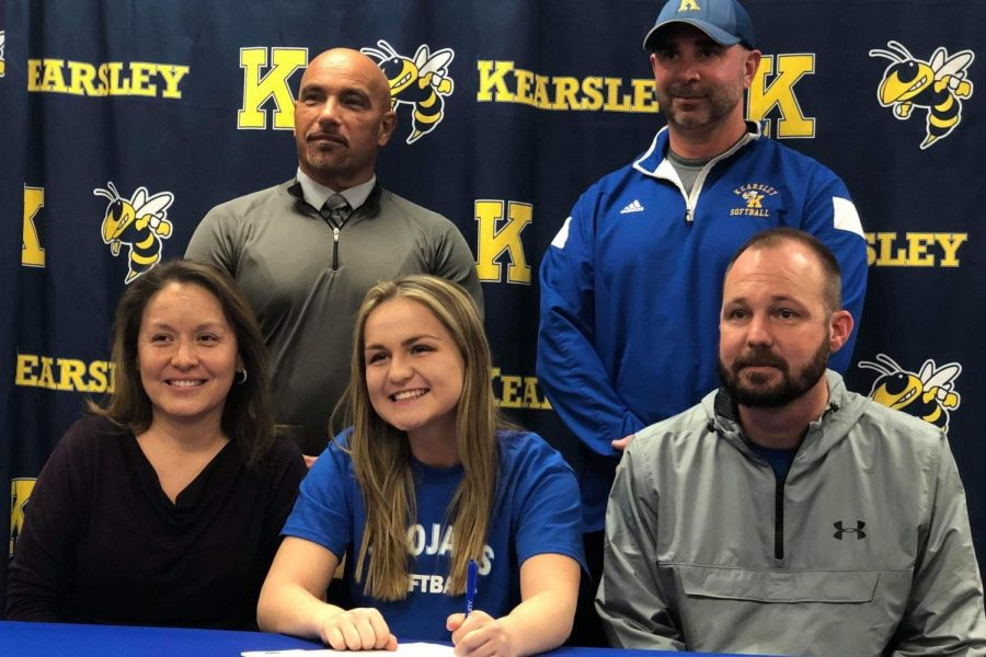 Senior Halle Parish signed her National Letter of Intent with Trinity International University on Wednesday, Feb. 27, to play softball.  Parish's mom, Mrs. Juana Parish (l to r,) Coach Ron March, Coach Scott Oullette, and  Parish's dad, Mr. Ryan Parish, came to show their support.
