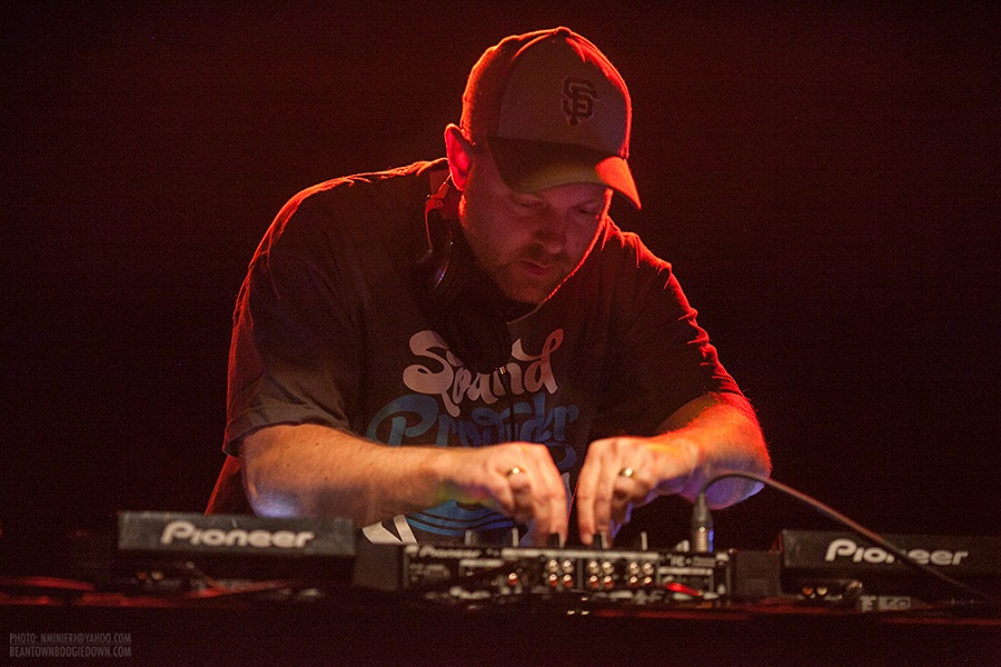 DJ Shadow performs at a Boston concert in 2012.