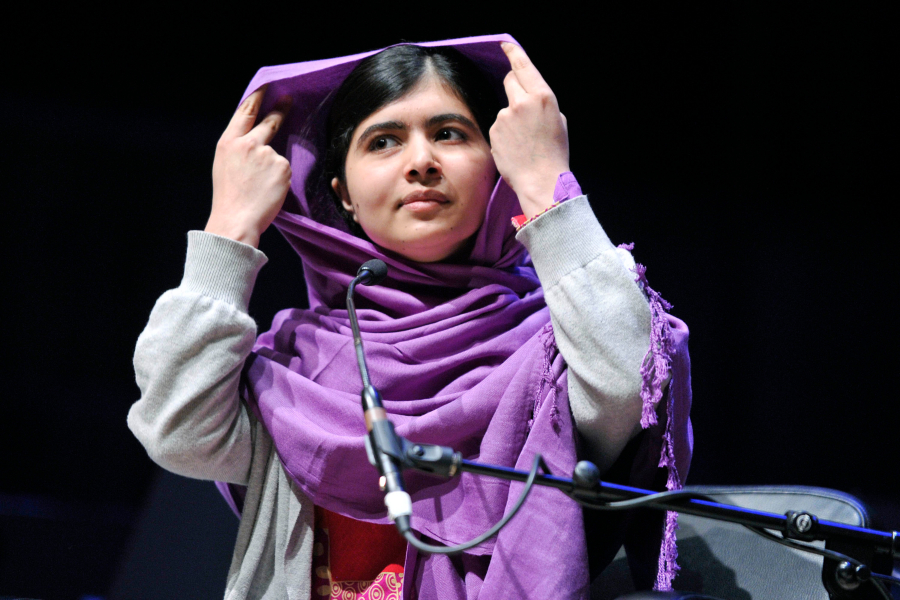 Miss Malala Yousafzai makes a presentation at the Women of the World event where she talked about gender inequality and the change required to help females.