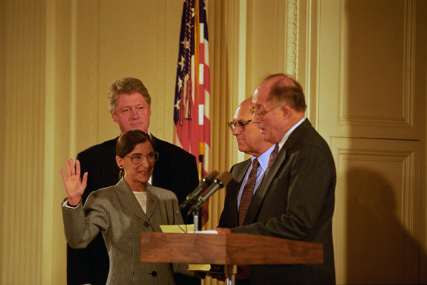 U.S. Supreme Court Justice Ruth Bader Ginsburg is sworn into office by Chief Justice William Rehnquist