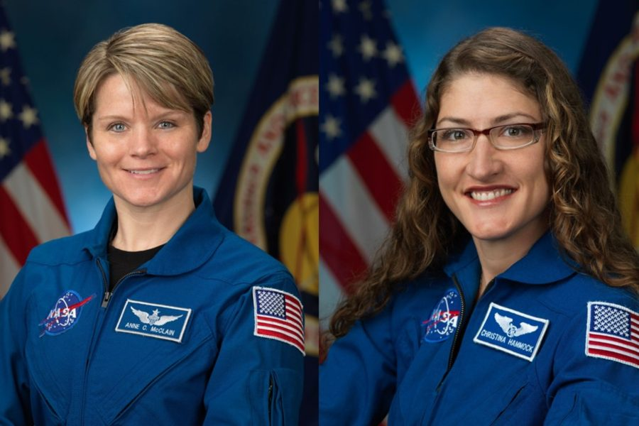 Astronaut Anne McClain (left) and Astronaut Christina Hammock Koch will be part of the first all-female spacewalk crew.
