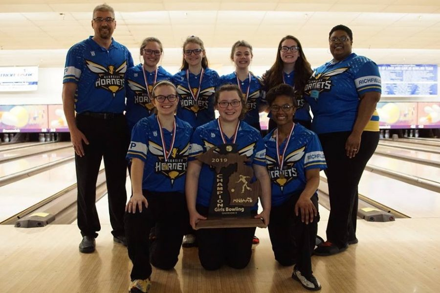 The+girls+bowling+team+won+the+MHSAA+Division+2+state+final+for+a+sixth+year+in+a+row+on+Friday%2C+March+1.+It+was+Kearsley%27s+seventh+state+championship+in+eight+years.