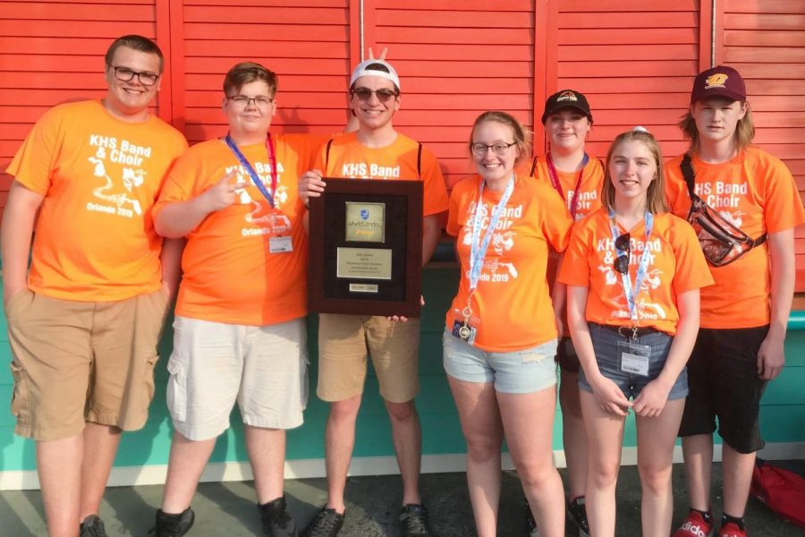 KHS band members celebrate taking second place at the Worldstrides band competition April 5 at Universal Studios in Orlando, Fla.