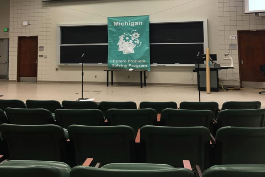 The stage is set up for the host to begin the opening ceremony of the Michigan  Future Problem Solving Program State Bowl on Saturday, March 23.