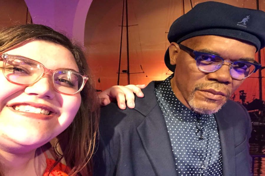 Senior Audri Counelis poses with Sam Jackson at Madam Tussauds Orlando, wax museum in Orlando, Fla.