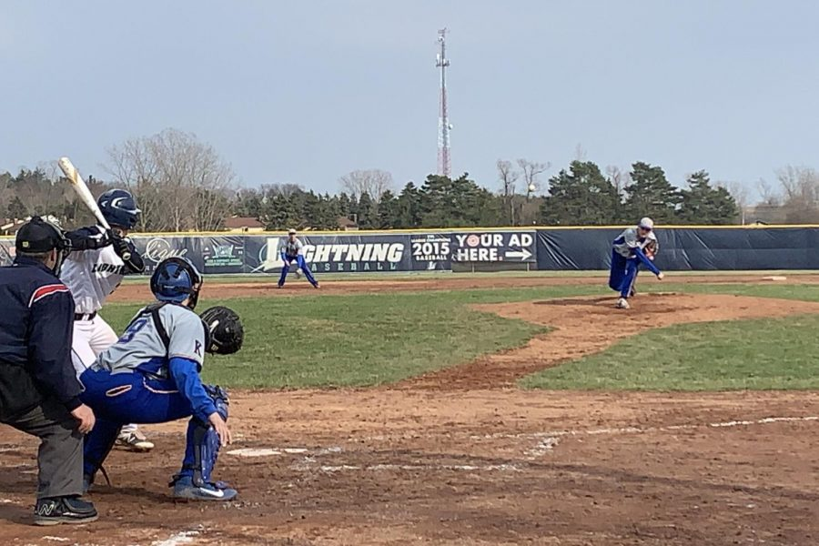 Sophomore Kody Easton pitched for the Hornets on Wednesday, April 17, against Lapeer.