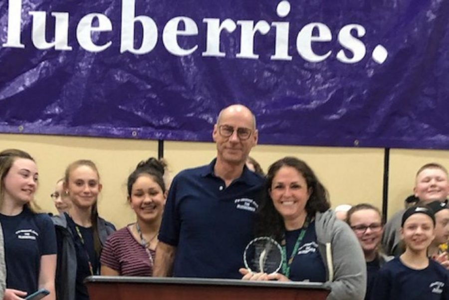 Ms. Courtney Emerick (right) was honored as Teacher of the Year at the Blueberry Ambassador Awards on Tuesday, May 7.