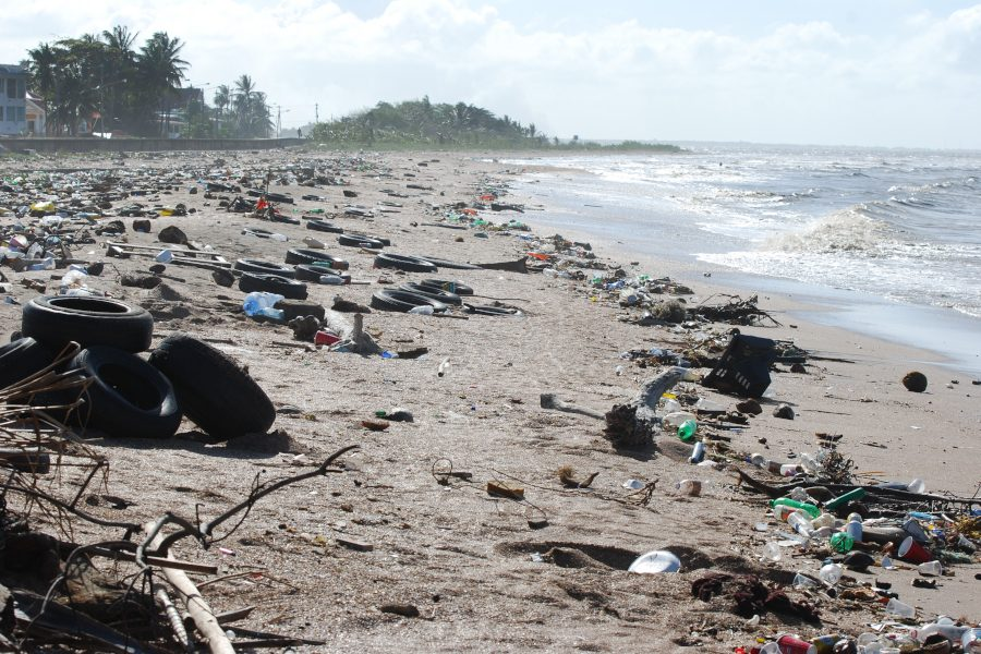 Garbage litters a beach in Guyana. Pollution impacts land and the ocean across the globe, and social media posts help draw attention to these scenes.