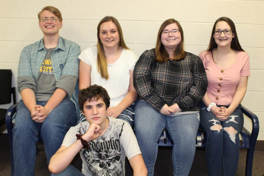 Seniors Connor Earegood (back row, l to r) and Elizabeth Taylor, juniors Hope Wills and Kaylee DeBlouw, and sophomore Jonathen Hart (front) will write for The Eclipse while new student journalists finish their training assignments.