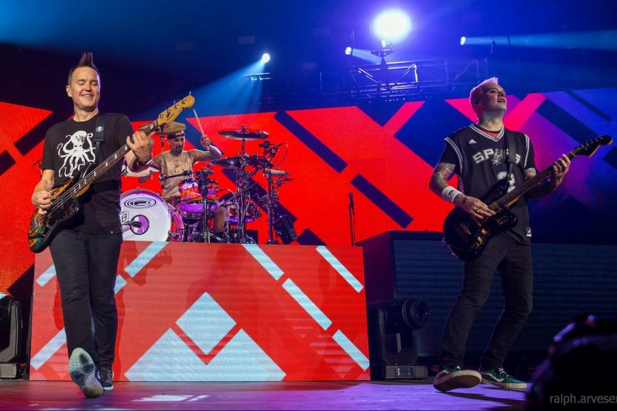 Blink-182 performs at a concert in 2016. The band released its ninth studio album,