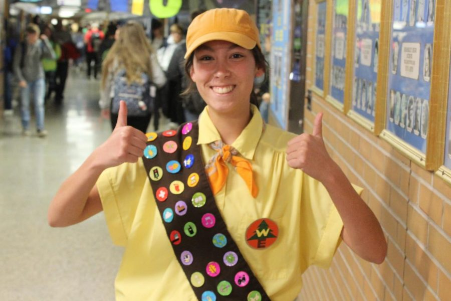 "Senior Ava Kelsey dresses as Russell from the movie ""Up"" on Pixar Day, Thursday, Oct. 10."